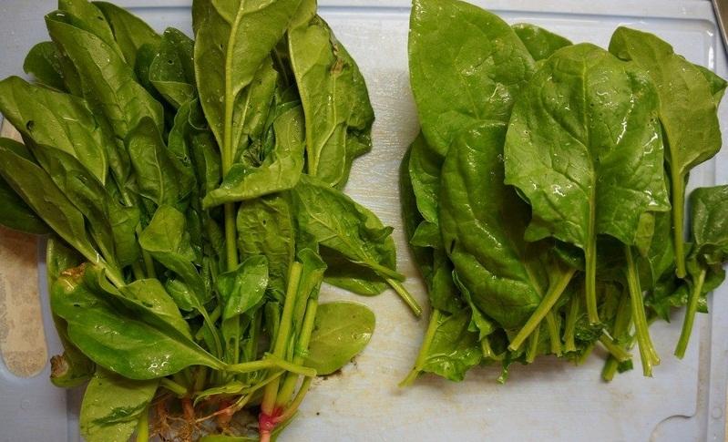 Сортировка листьев шпината