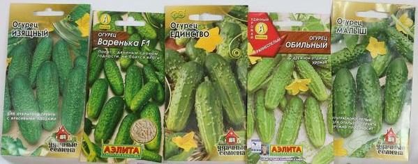 Разные семена огурцов в пакетиках