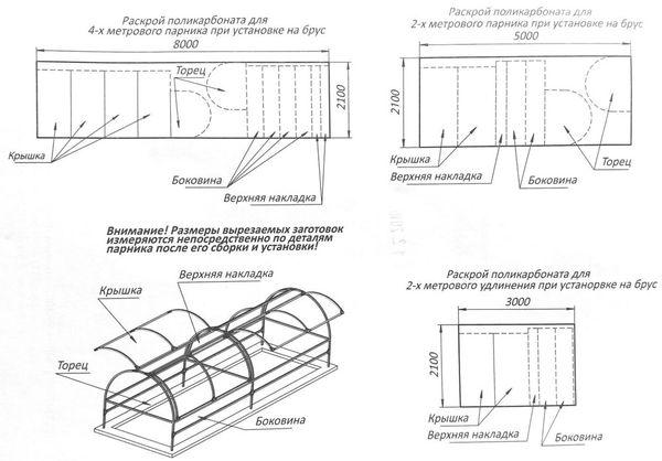 Схема конструкции парника Бабочка