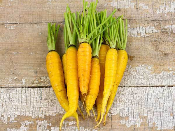 Желтая морковь на столе