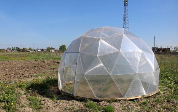 Купольная теплица из поликарбоната строится поэтапно