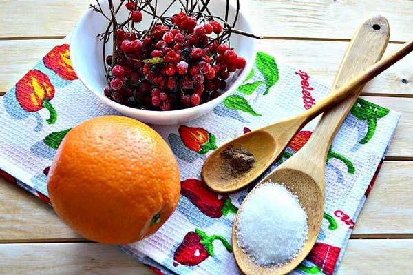 Ингредиенты сырого варенья из калины с апельсинами