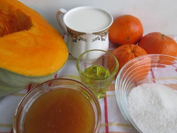 Составляющие вкусного варенья из тыквы с мандаринами