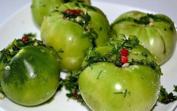 Зеленые помидоры на зиму по-грузински