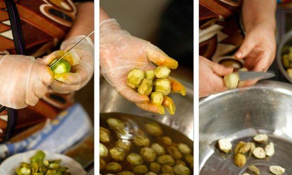 Подготовка орехов к замачиванию и варке
